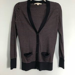 LOFT Navy/Pink Stripe Cardigan Sweater XS